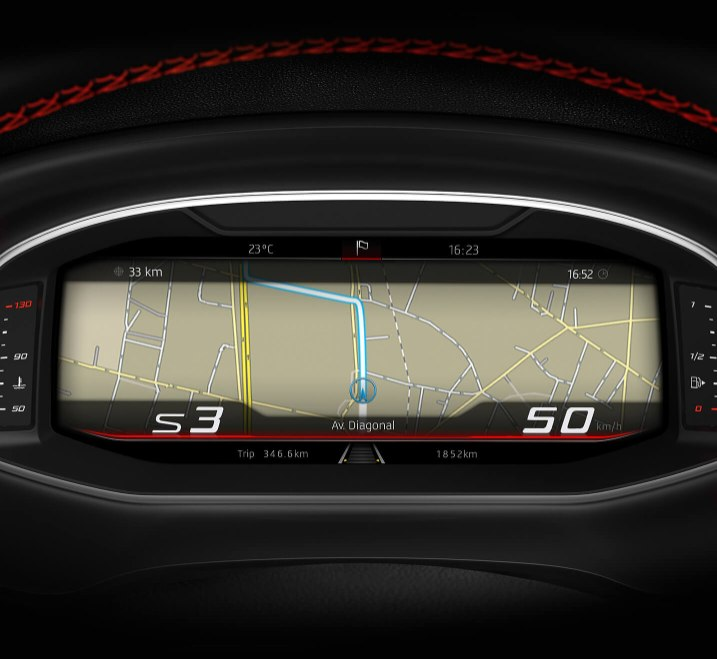 SEAT Leon Estate - Digital cockpit showing navigation route